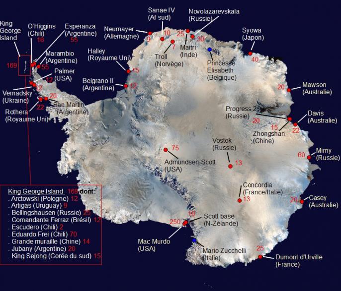 Bases antarctiques et hivernants