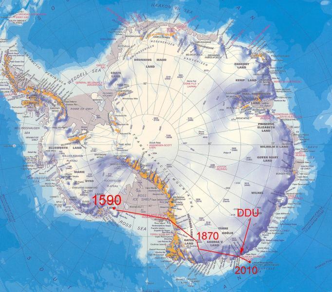 Derive du pôle sud magnétique depuis les 1ères mesures