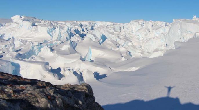 Le front du glacier, depuis le nunatak